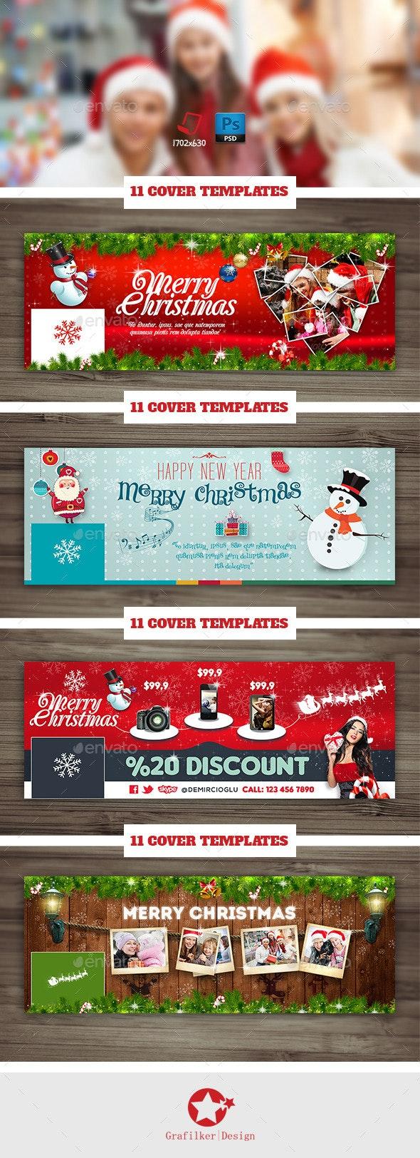 Christmas Timeline Cover Bundle Templates - Facebook Timeline Covers Social Media