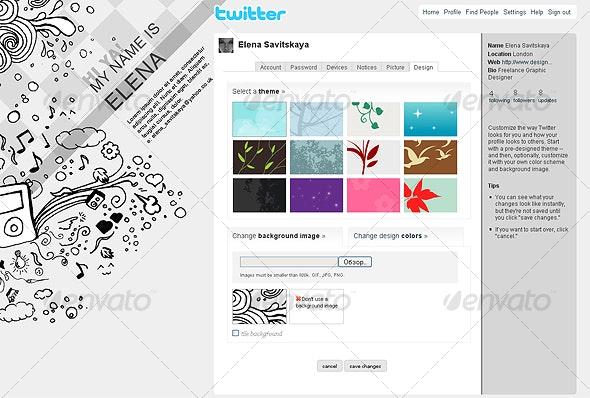 Stylish Doodles Twitter Background - Twitter Social Media