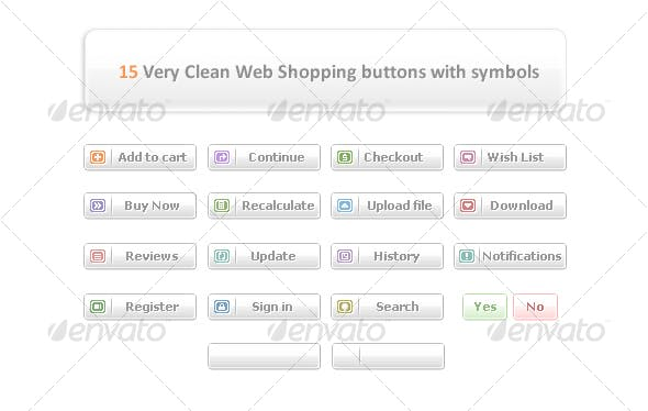 15 Very Clean Web Shopping buttons with symbols