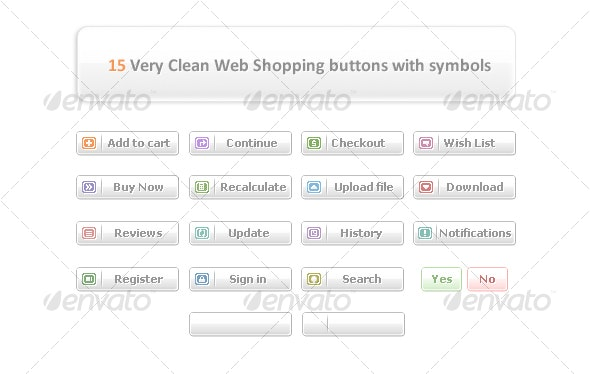 15 Very Clean Web Shopping buttons with symbols - Buttons Web Elements