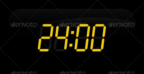 24 Hours Electronic Display - Decorative Symbols Decorative