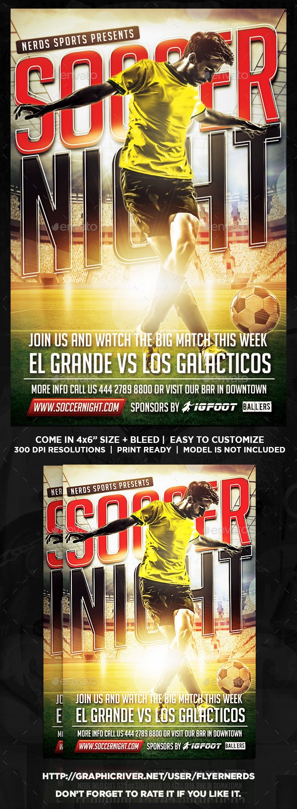 Soccer Night Flyer - Sports Events