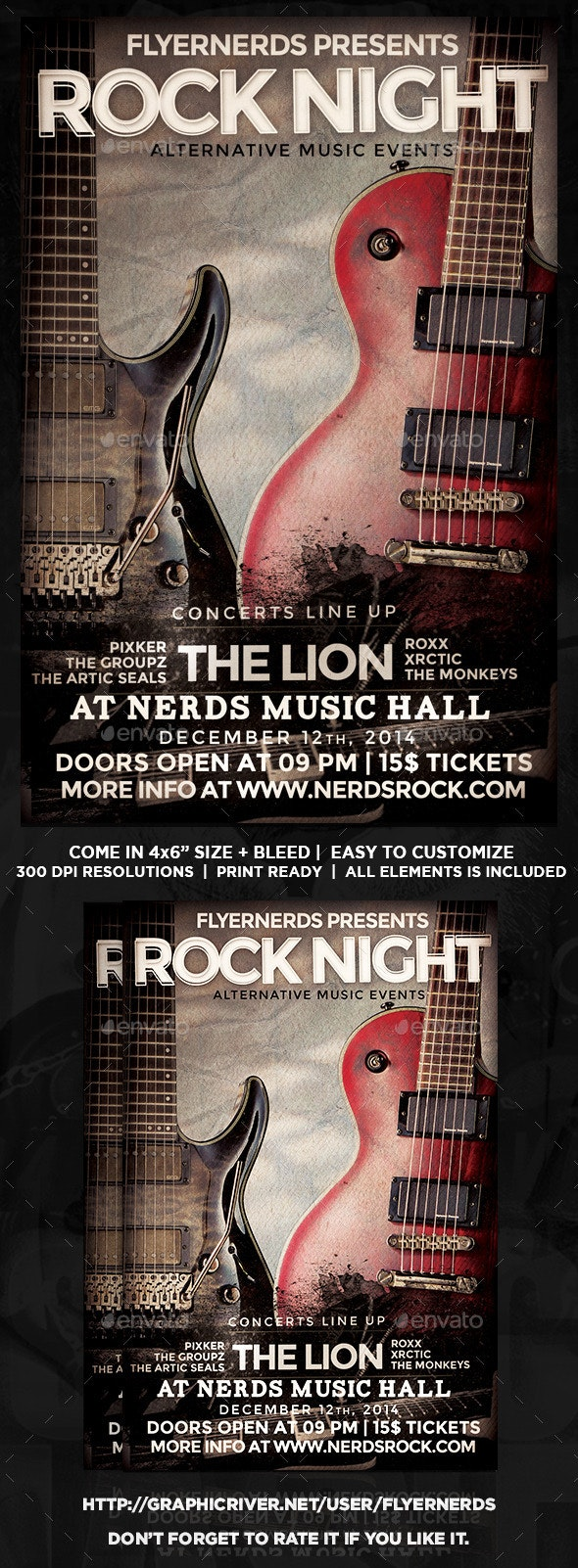 Classic Rock Night Music Flyer - Concerts Events