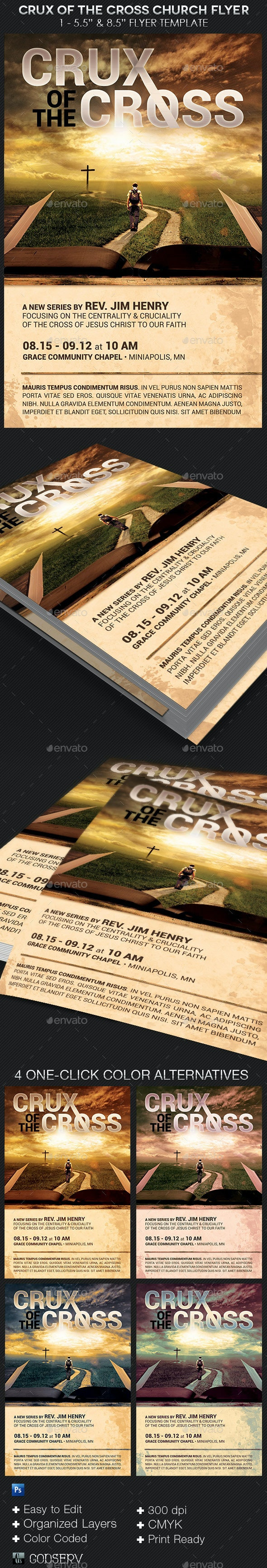 Cross Church Flyer Template - Church Flyers