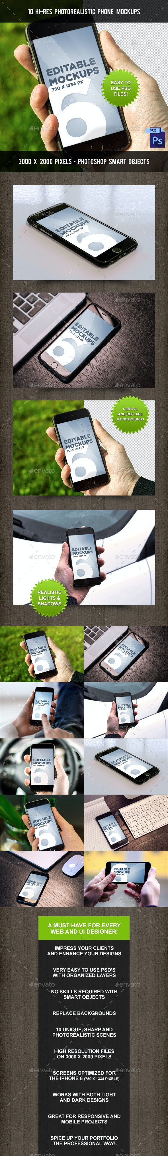 10 Photorealistic Phone 6 Mock-Ups - Mobile Displays
