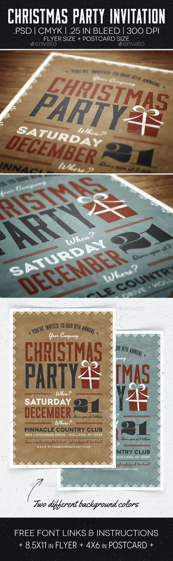 Christmas Party Flyer & Invitation - Holidays Events