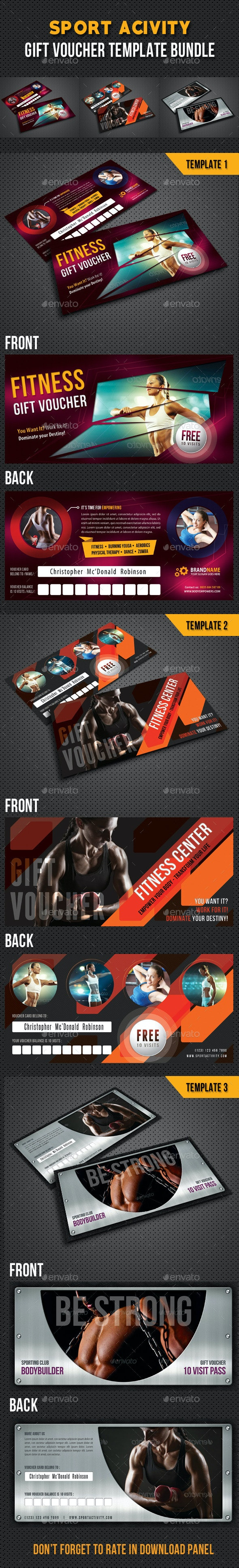 3 in 1 Sport Activity Gift Voucher Bundle 02 - Cards & Invites Print Templates