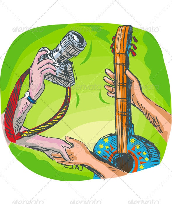 Hand Exchanging DSLR Camera and Guitar - Conceptual Vectors
