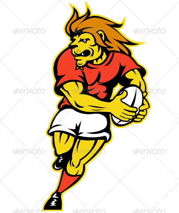 Lion Rugby Player Running With Ball - Animals Characters