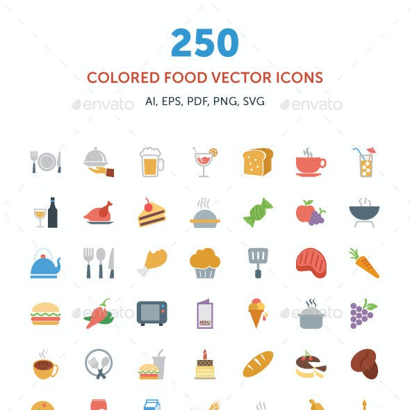250 Colored Food Vector Icons