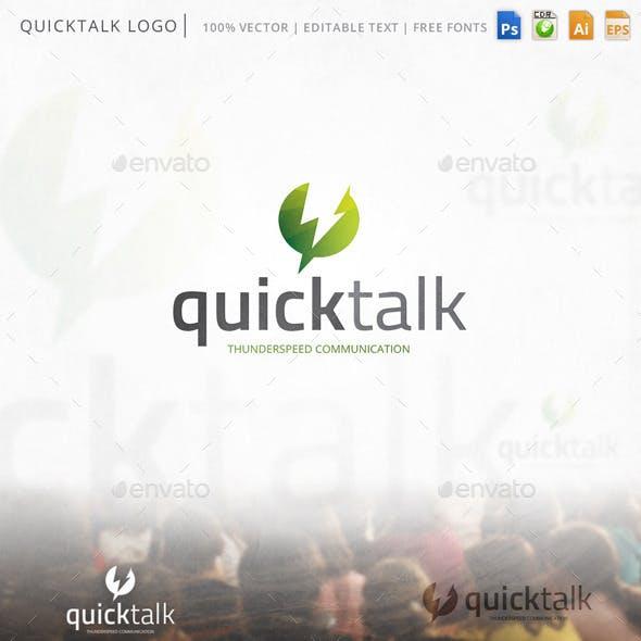 Quicktalk Chat Thunderbolt Logo Template
