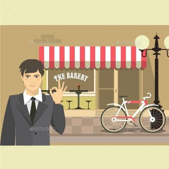 Man Advertises Bakery