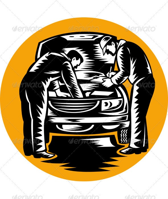 Automotive Mechanic Repairman Repairing Car - Industries Business