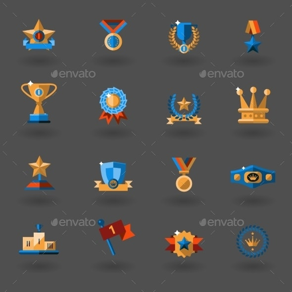 Award Flat Icons Set - Web Technology