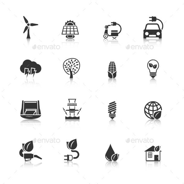 Eco Energy Icons Set - Web Elements Vectors