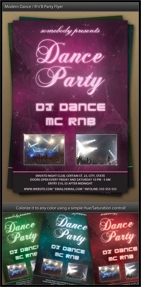 Modern Dance / R'n'B Party Flyer - Clubs & Parties Events