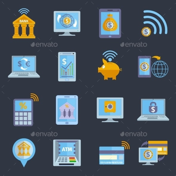 Mobile Banking Icons - Web Technology