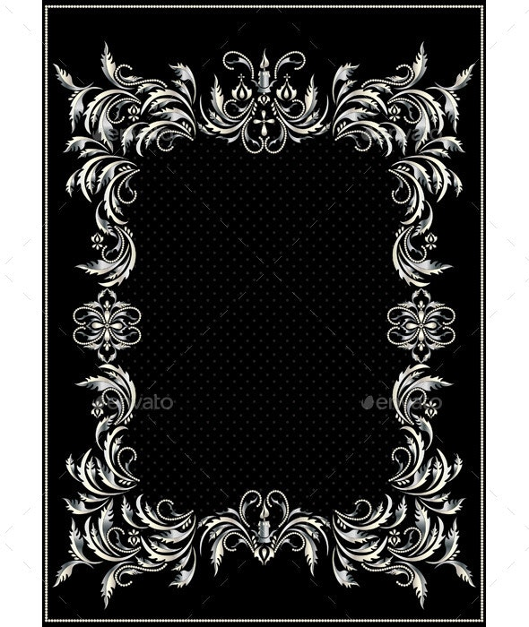 Silver Border with Decor in the Victorian Style - Borders Decorative