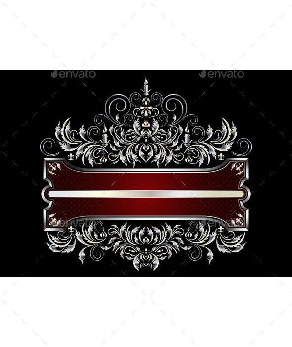 Silver Frame with Victorian Style Decor  - Borders Decorative