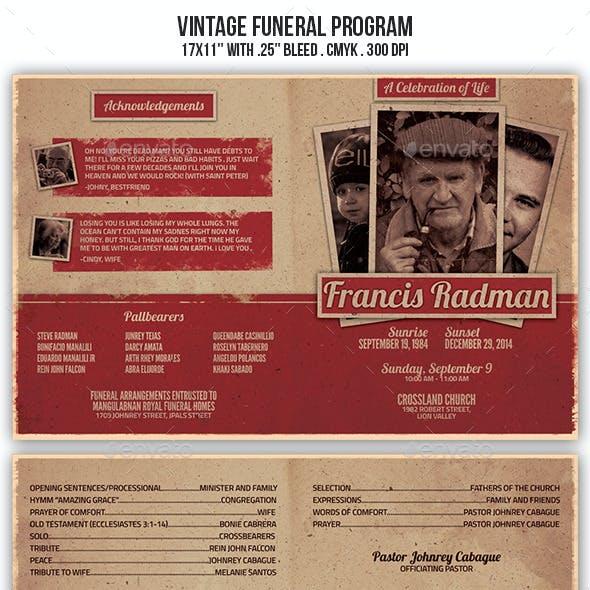 Vintage Funeral Program