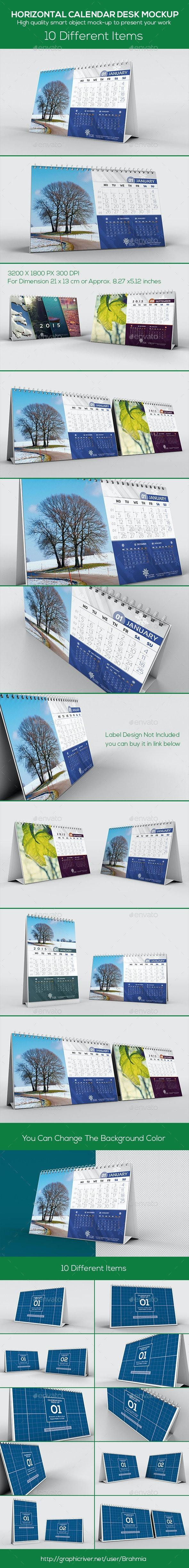 Horizontal Calendar Desk Mockup - Miscellaneous Print
