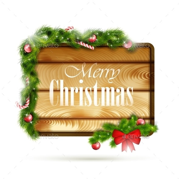 Wooden Board With Christmas Attributes. - Christmas Seasons/Holidays