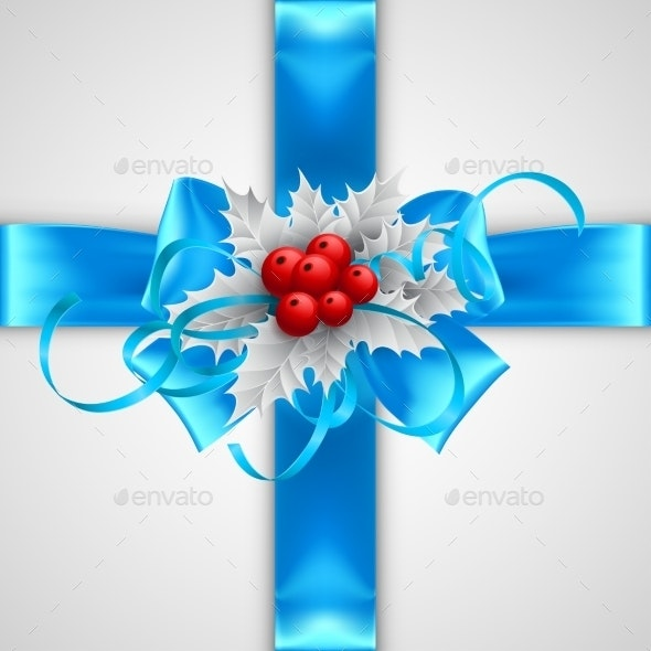 Blue Bow with Christmas Decorations  - Christmas Seasons/Holidays