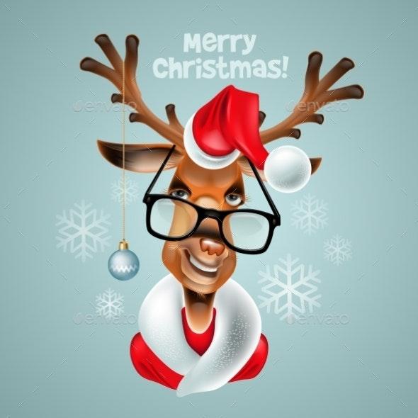 Reindeer Hipster. Santa Claus - Christmas Seasons/Holidays