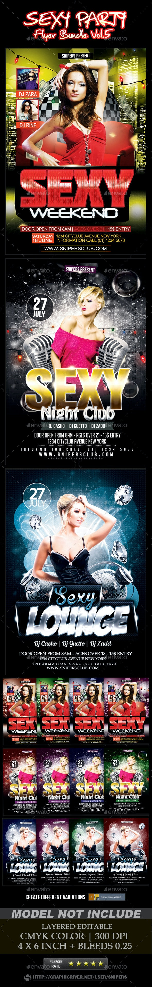 Sexy Party Flyer Bundle Vol. 5 - Events Flyers