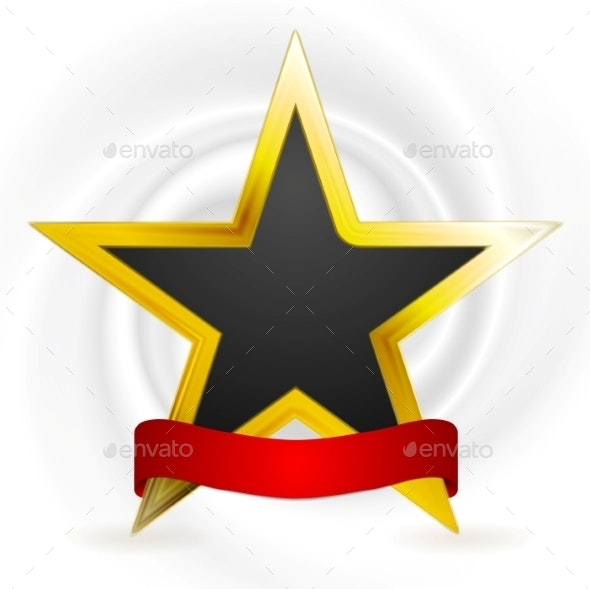 Gold Star with Ribbon - Backgrounds Decorative