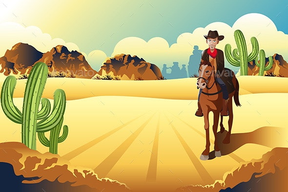 Cowboy Riding a Horse - People Characters
