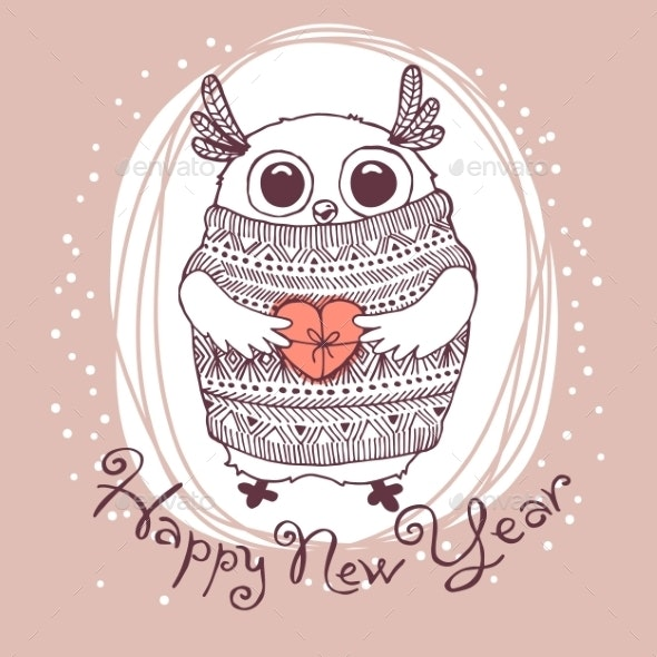 Owl Illustration Happy New Year - Christmas Seasons/Holidays