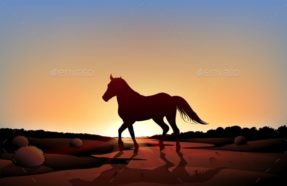 Horse in a Sunset Scenery at the Desert - Animals Characters