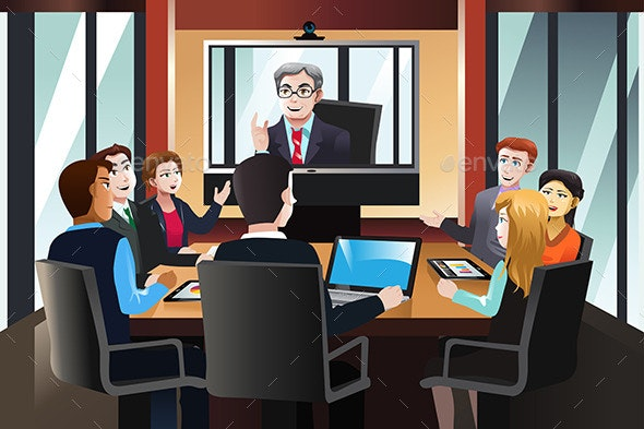 Business People on a Video Conference - Business Conceptual