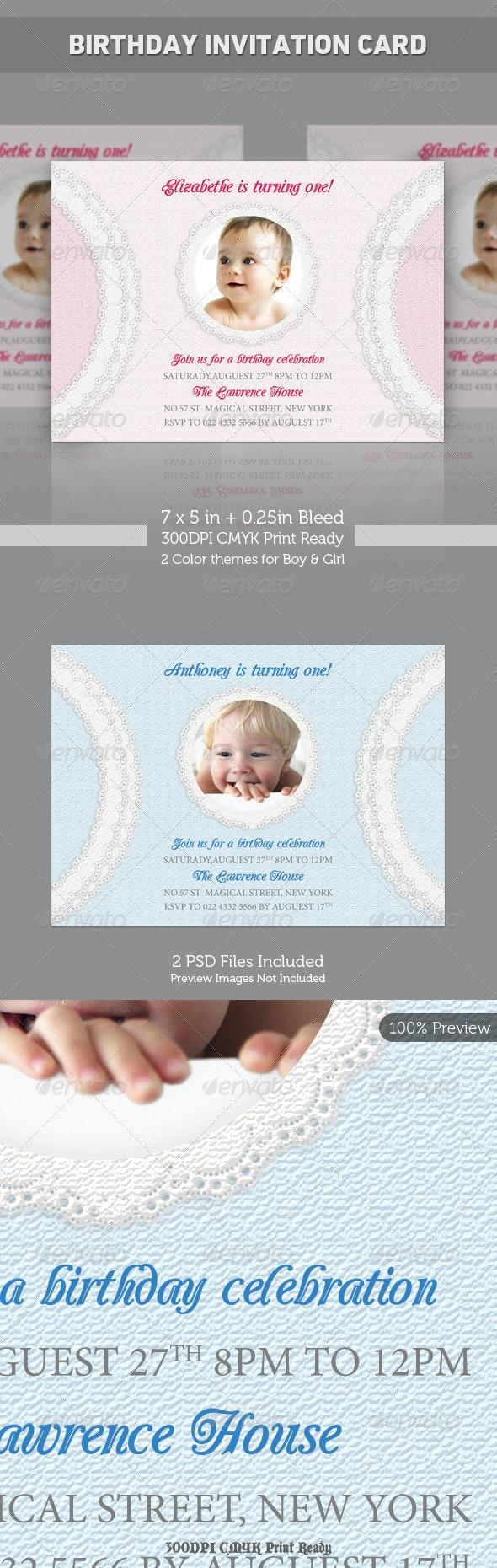 Birthday Invitation - Lace Style - Birthday Greeting Cards