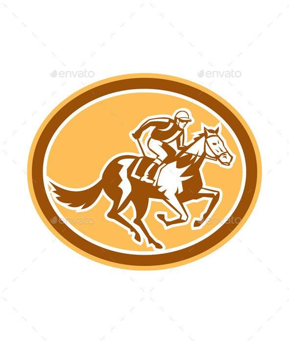 Jockey Horse Racing Oval Retro - Sports/Activity Conceptual