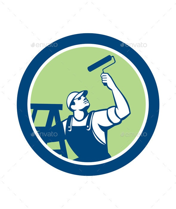House Painter With Paint Roller and Ladder Retro - People Characters