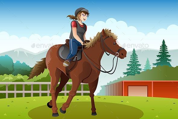 Little Girl Riding a Horse - Sports/Activity Conceptual