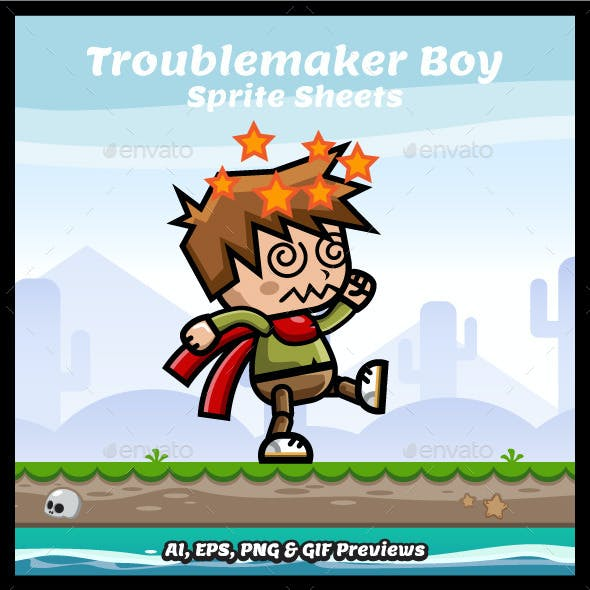 Troublemaker Boy Game Asset Sprite Sheets