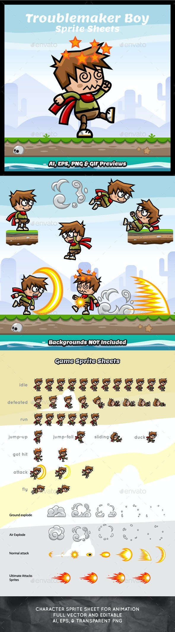 Troublemaker Boy Game Asset Sprite Sheets - Sprites Game Assets