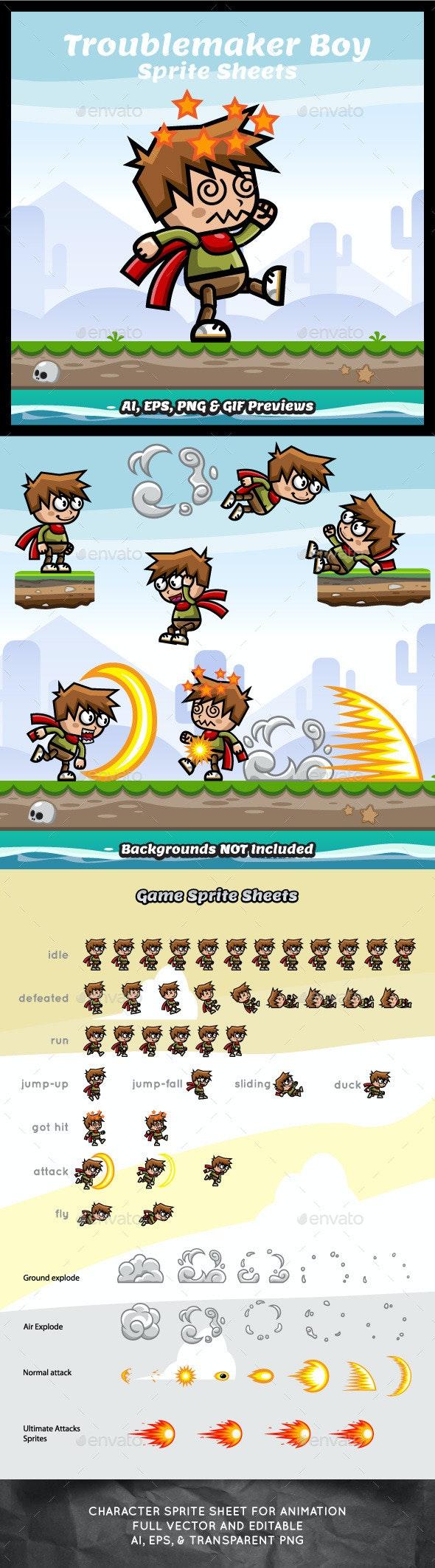 Troublemaker Boy Game Asset Sprite Sheets - Sprites Game Assets
