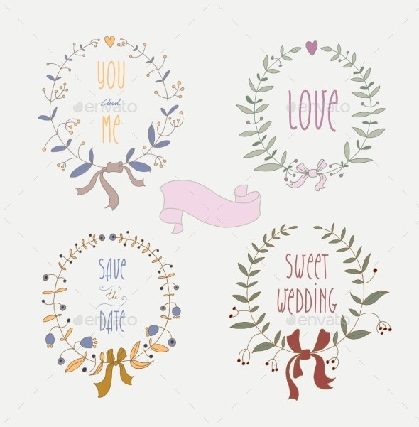 Hand Drawn Set of Wedding Wreaths and Ribbons - Borders Decorative