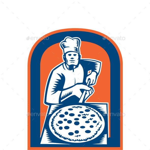 Pizza Maker Holding Pizza Peel Shield Woodcut