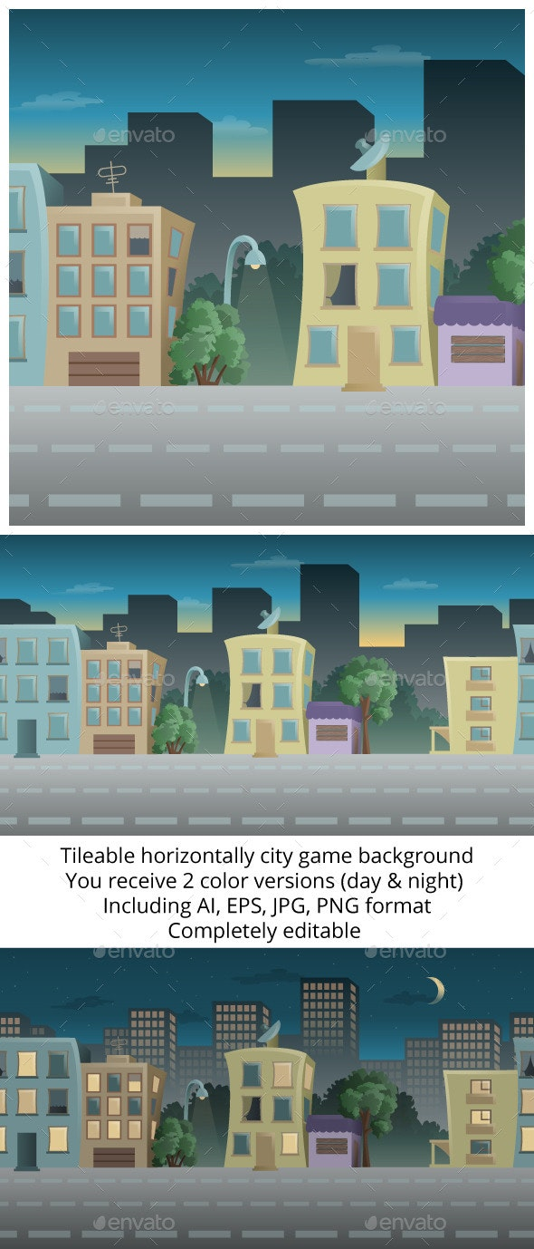 Tileable City Game Background - Backgrounds Game Assets