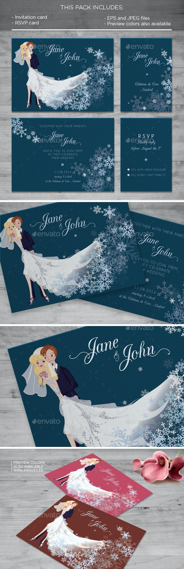 Snow Flake Invitation Card - Weddings Cards & Invites