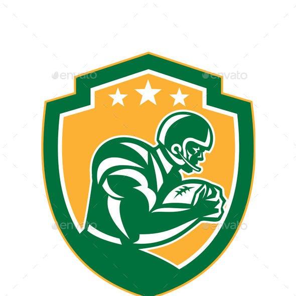 American Football Player Running Shield Retro