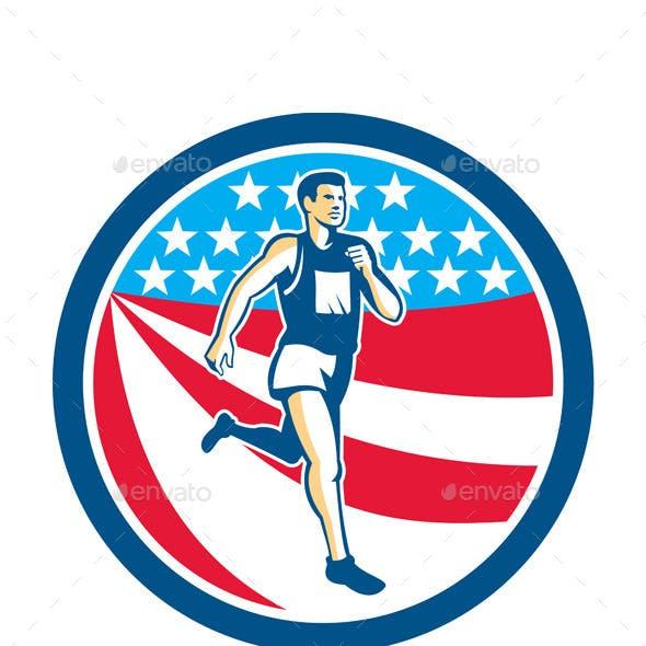 American Marathon Runner Running Circle Retro