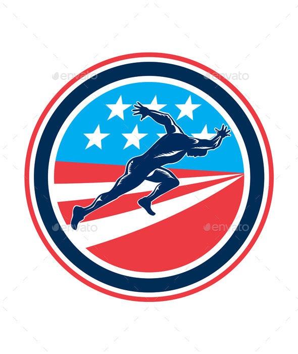 Sprinter Runner Running Woodcut Retro - Sports/Activity Conceptual