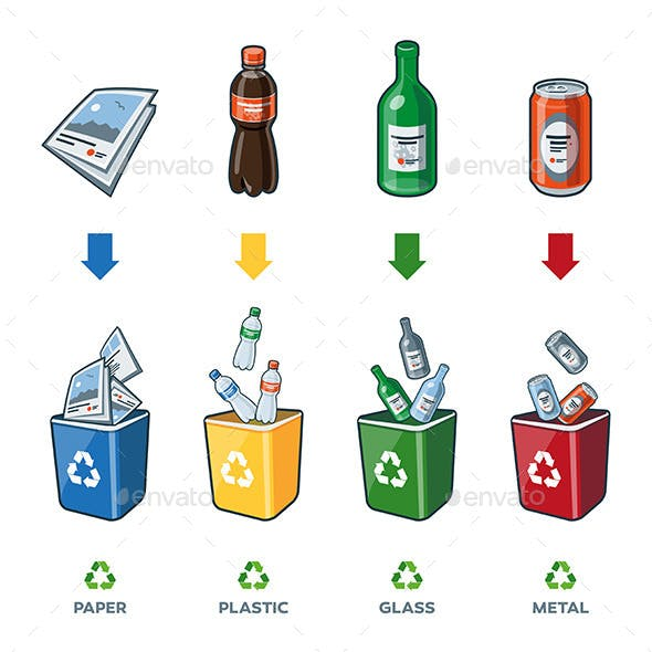 Recycling Bins for Paper Plastic Glass Metal Trash