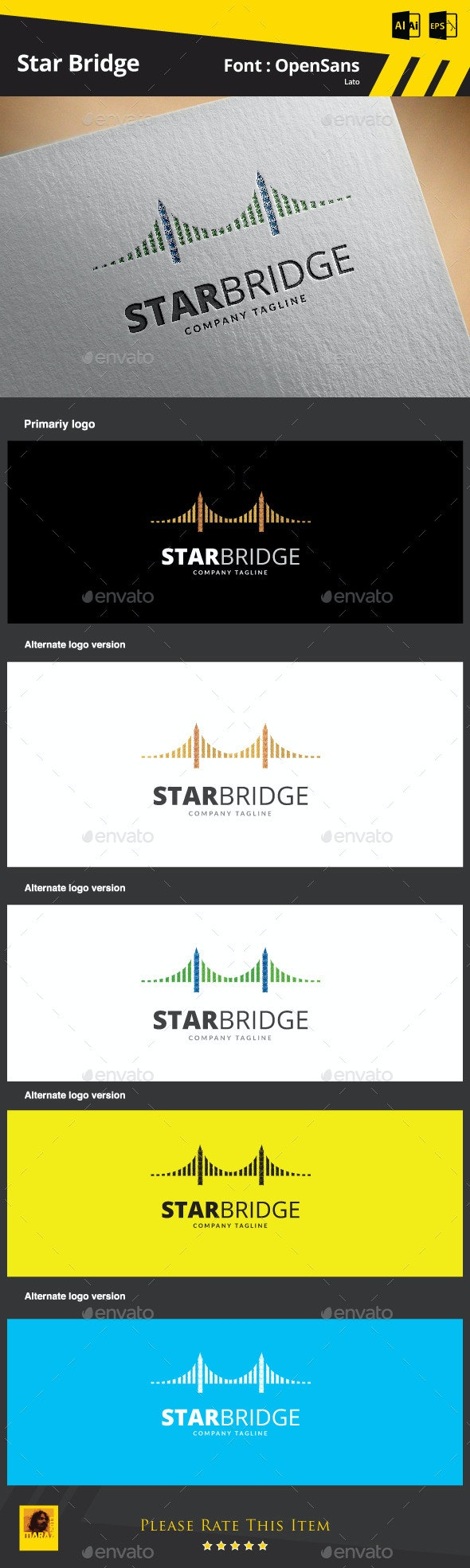 Star Bridge Logo Template - Buildings Logo Templates